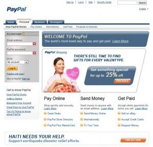 Paypal login homepage