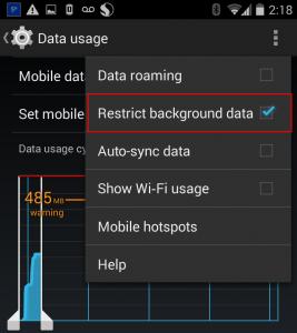 restrict background data